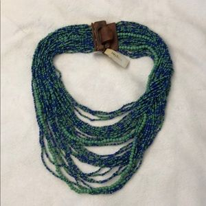 Green and blue beaded costume necklace